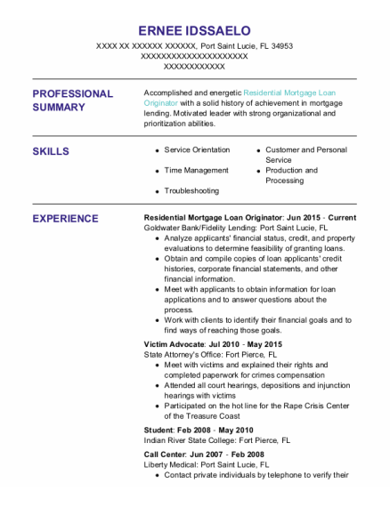 Student resume template Florida