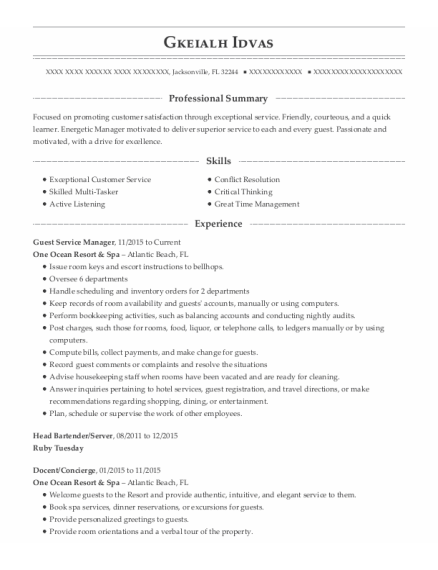 Guest Service Manager resume format Florida