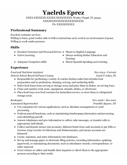 Bookeeper resume sample Florida