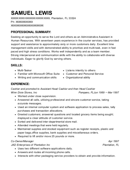 Cashier and promoted to Assistant Head Cashier and then Head Cashier resume sample Florida