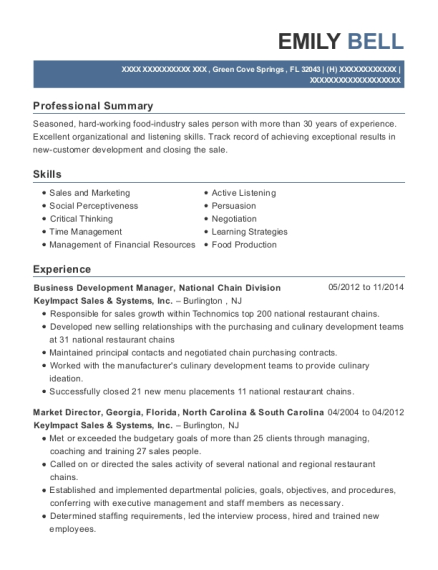 Business Development Manager resume sample Florida