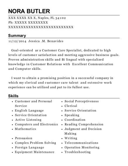Customer Service Specialist resume sample Florida