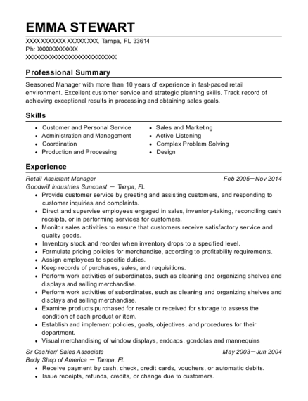 Retail Assistant Manager resume sample Florida