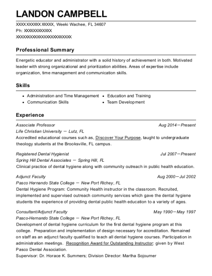 Associate Professor resume format Florida