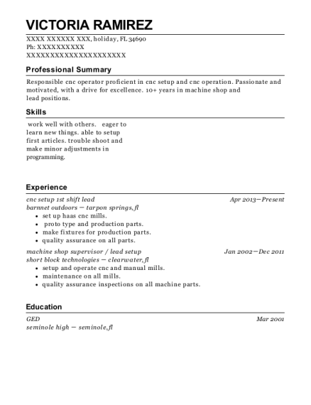 cnc setup 1st shift lead resume format Florida