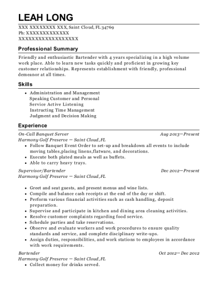 On Call Banquet Server resume sample Florida