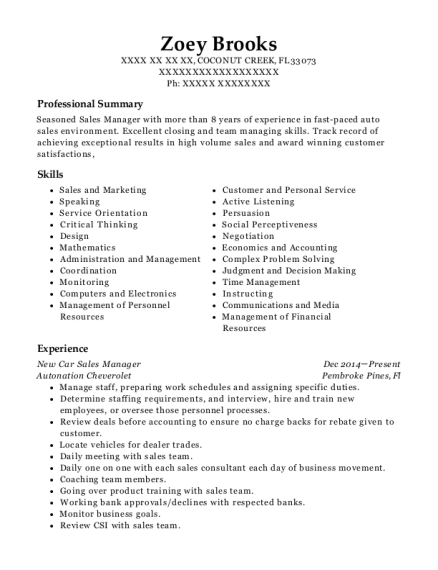 New Car Sales Manager resume example Florida
