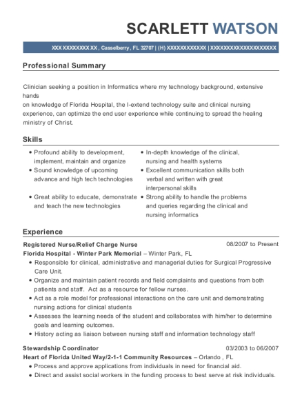 Registered Nurse resume format Florida