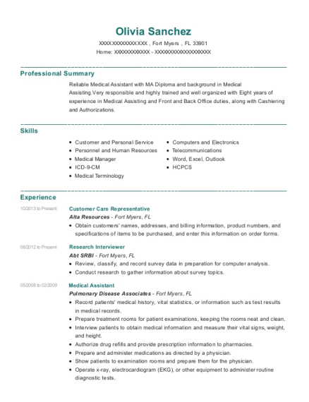 Customer Care Representative resume sample Florida