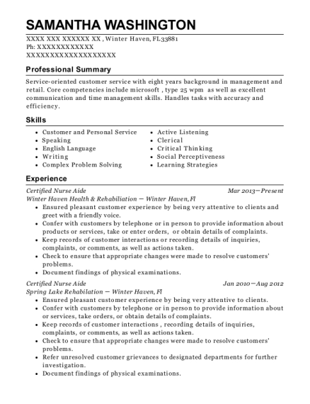 Certified Nurse Aide resume example Florida