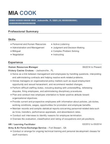 Human Resources Manager resume template Florida
