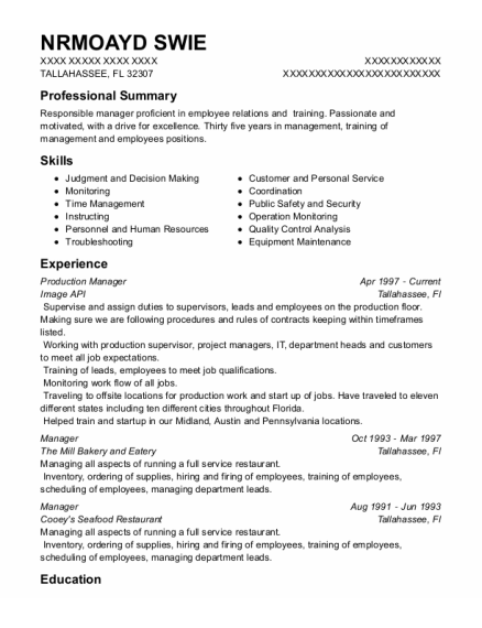 Production Manager resume format Florida