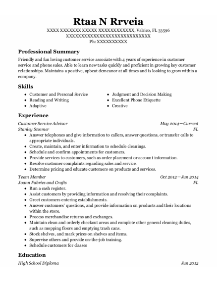 Customer Service Advisor resume example Florida