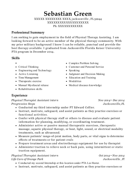 Physical Therapist Assistant intern resume sample Florida
