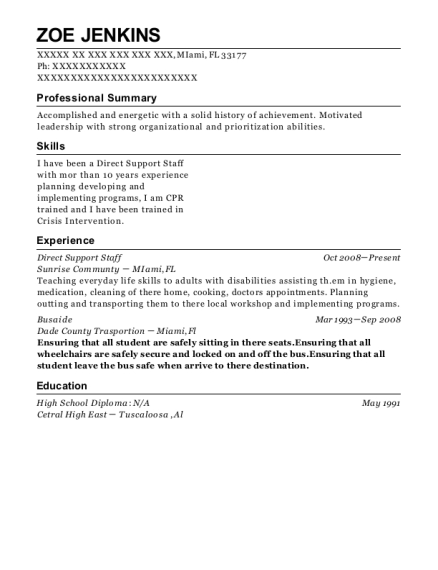 Direct Support Staff resume example Florida