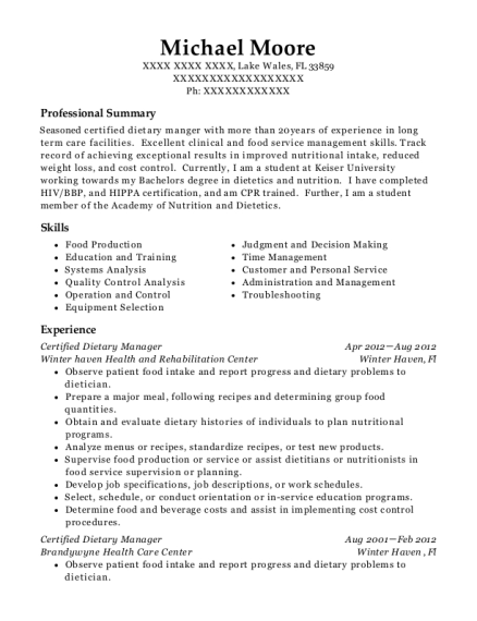 Certified Dietary Manager resume sample Florida