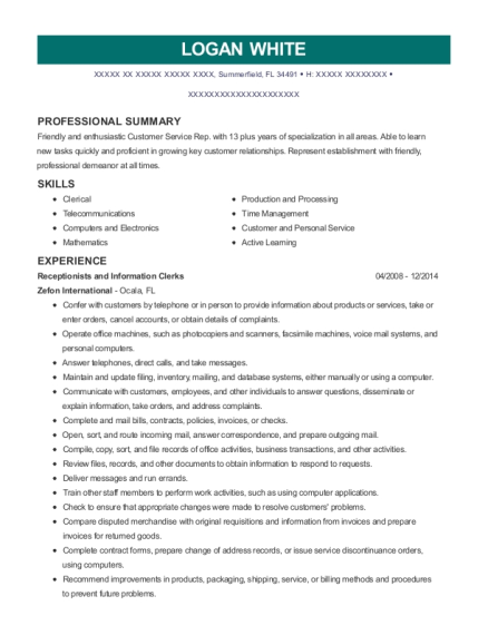 Receptionists and Information Clerks resume template Florida