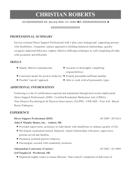 Direct Support Professional resume example Florida
