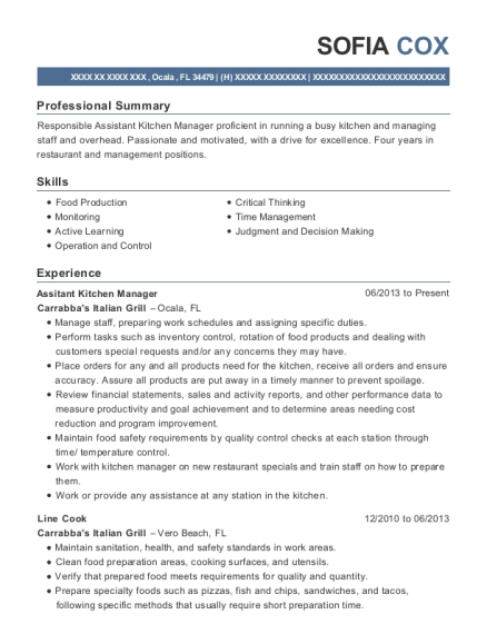Assitant Kitchen Manager resume template Florida