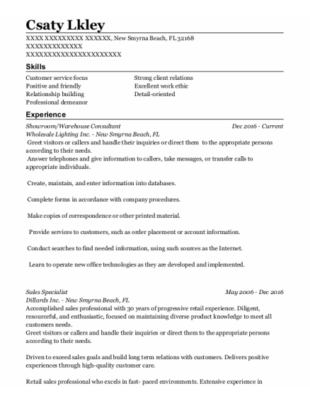 Showroom Assistant resume sample Florida