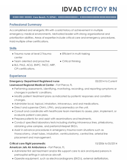Emergency Department Registered Nurse resume format Florida