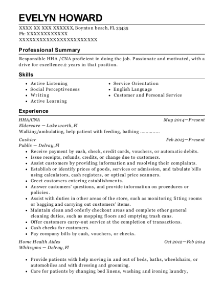 HHA resume sample Florida