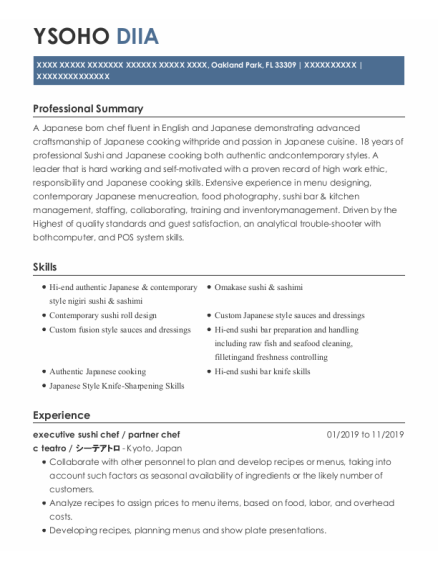 Sushi chef resume template Florida