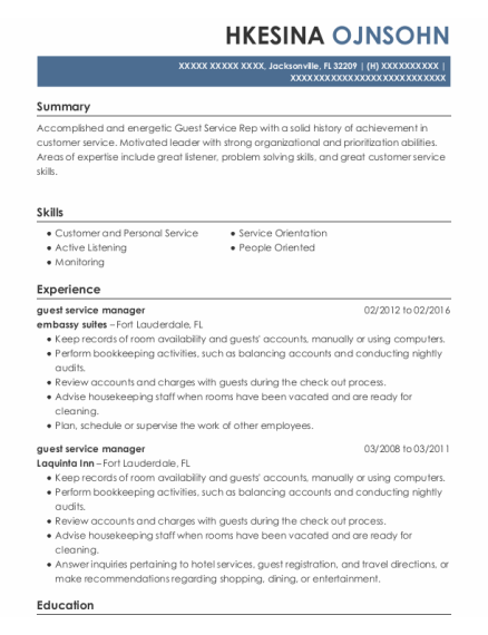 Guest Service Manager resume template Florida