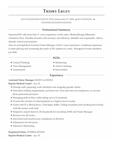 Assistant Nurse Manager resume template Florida