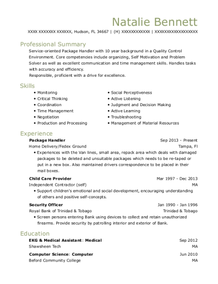 Package Handler resume example Florida