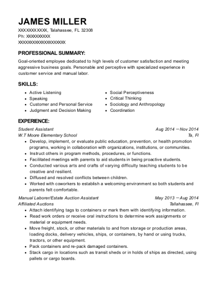 Student Assistant resume format Florida