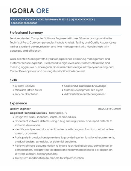 Quality Engineer resume example Florida