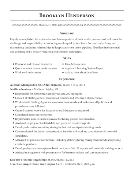 Account Manager resume sample Florida