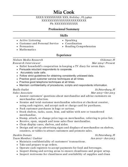 Research Interviewer resume template Florida