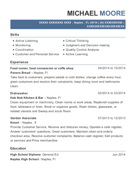 Food runner resume example Florida