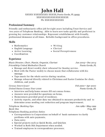 mount gilead baptist church minister of music resume