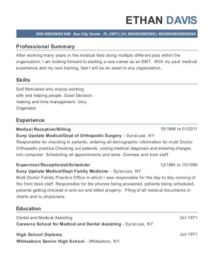 Medical Reception resume example Florida