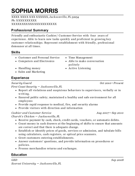 Security Guard resume format Florida
