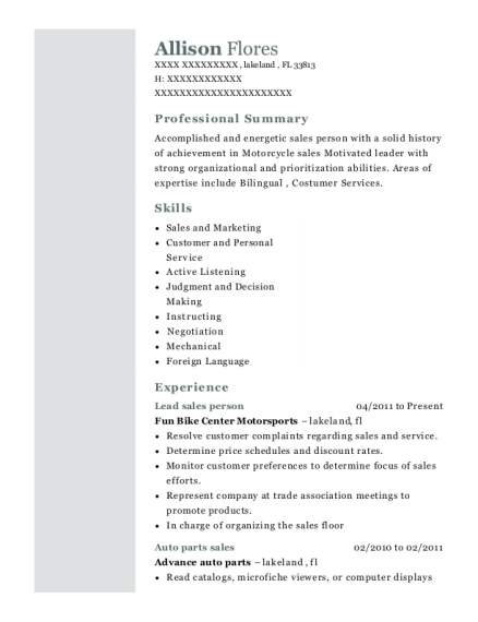 Lead sales person resume sample Florida