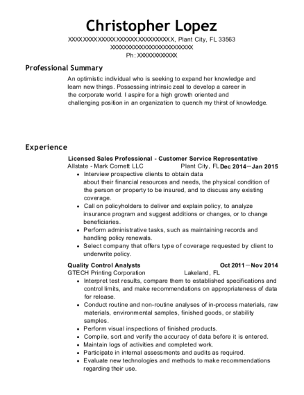 Licensed Sales Professional Customer Service Representative resume sample Florida