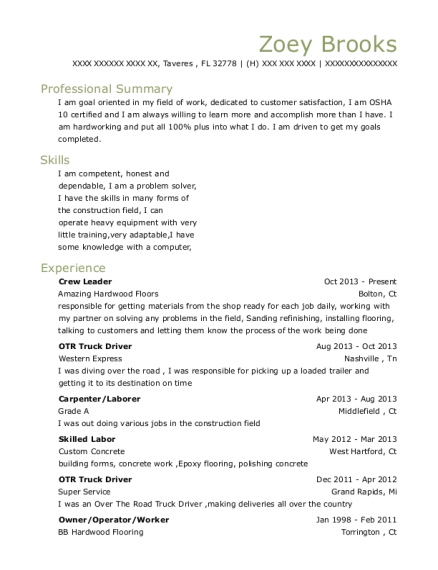 Crew Leader resume template Florida