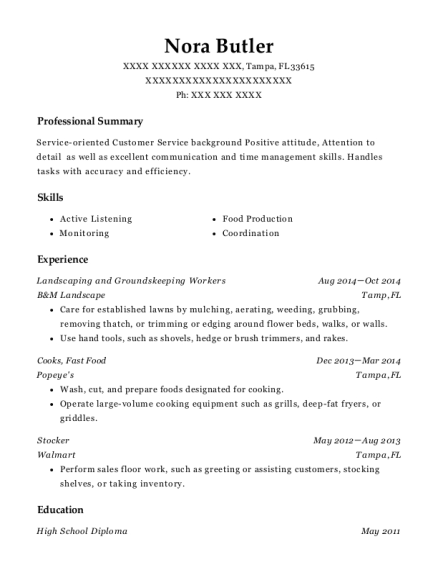 Landscaping and Groundskeeping Workers resume sample Florida