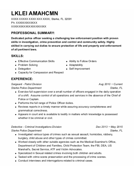 Communications Officer resume example Florida