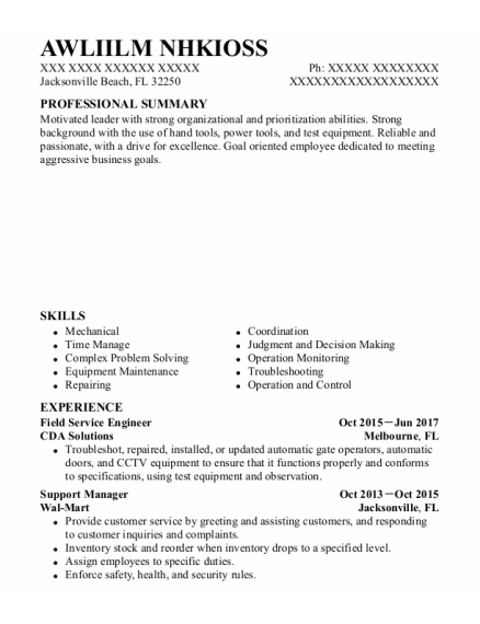 Field Service Engineer resume template Florida