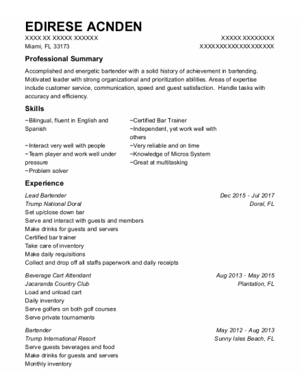 Lead Bartender resume example Florida