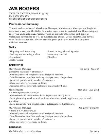Warehouse Manager resume sample Florida