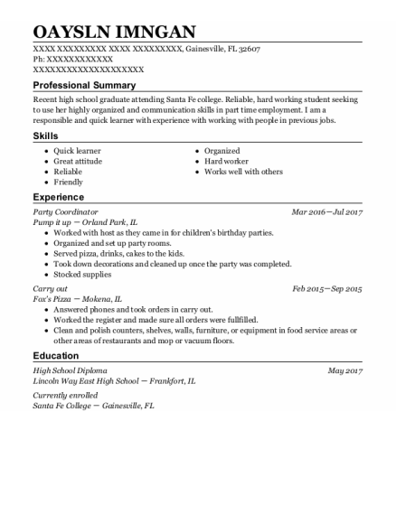 Party Coordinator resume format Florida