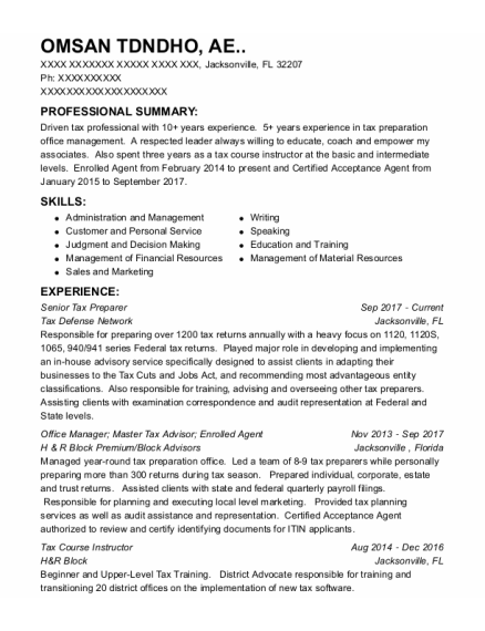 Tax Associate resume format Florida