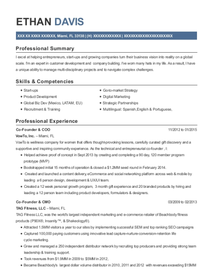 Co Founder & COO resume format Florida