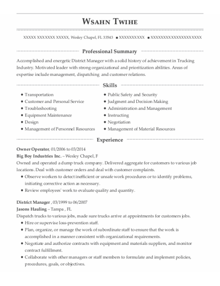 Owner Operator resume example Florida